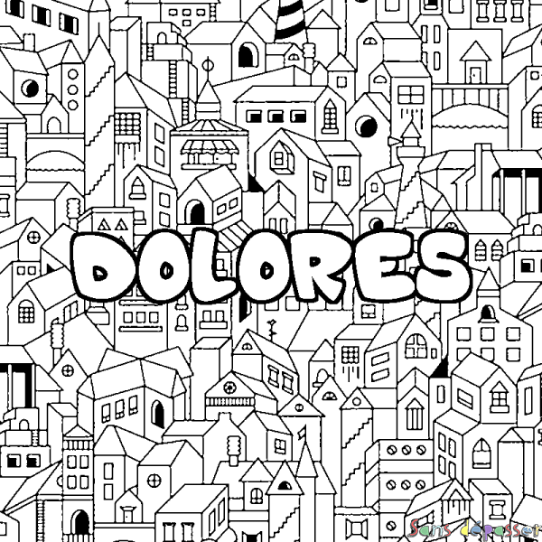 Coloriage DOLORES - décor Ville