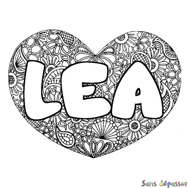 Coloriage prénom LEA - décor Mandala coeur - Sans Dépasser
