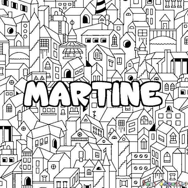 Coloriage prénom MARTINE - décor Ville - Sans Dépasser