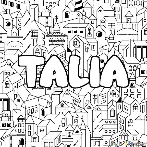 Coloriage prénom TALIA - décor Ville - Sans Dépasser