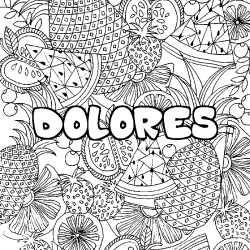Coloriage DOLORES - décor Mandala fruits
