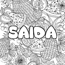 Coloriage SAIDA - décor Mandala fruits