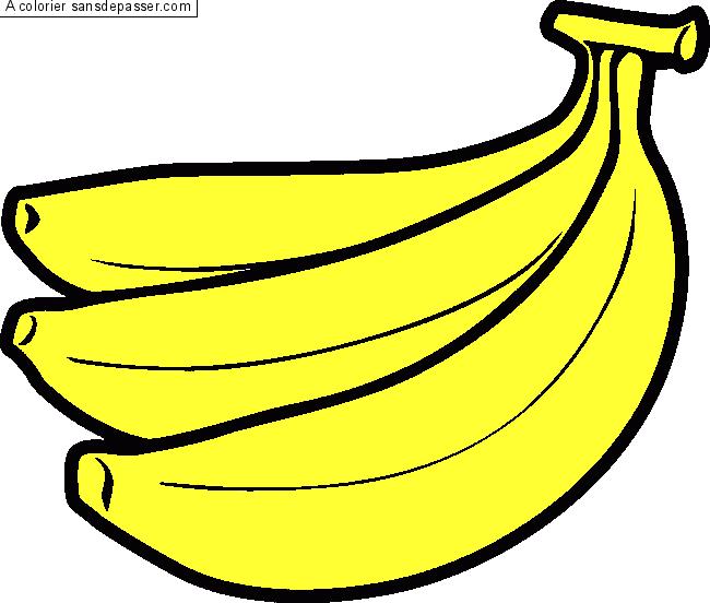 Coloriage Trois Bananes Sans Dépasser