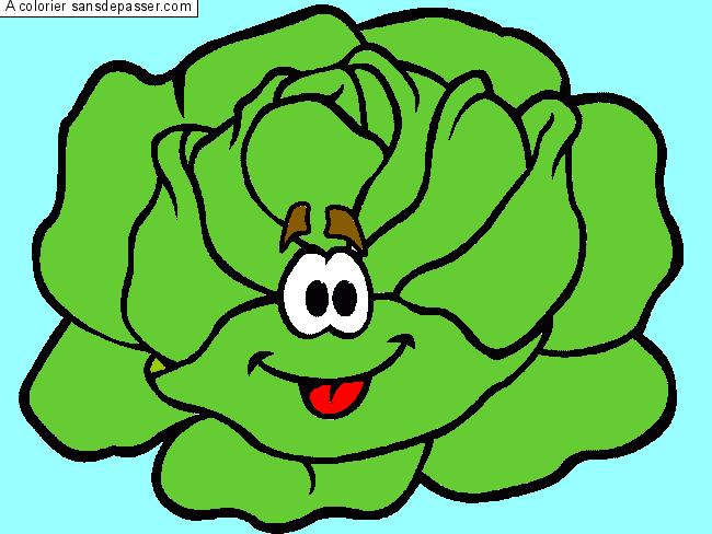 Dessin Colorié Salade Souriante Par Un Invité Sans Dépasser