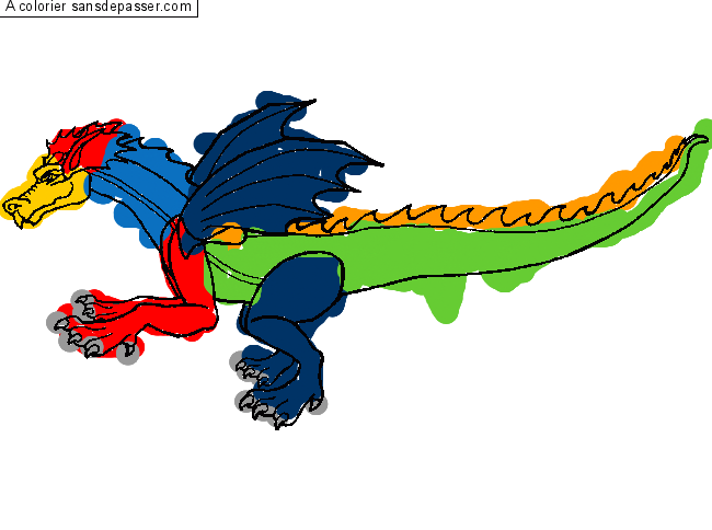 Coloriage Dragon volant par hasan