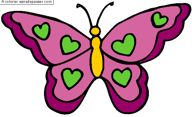 coloriage papillon coeurs par un invit - Papillon Dessin