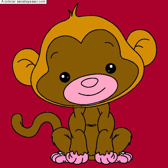 Coloriage petit singe sans d passer - Coloriage petit singe ...