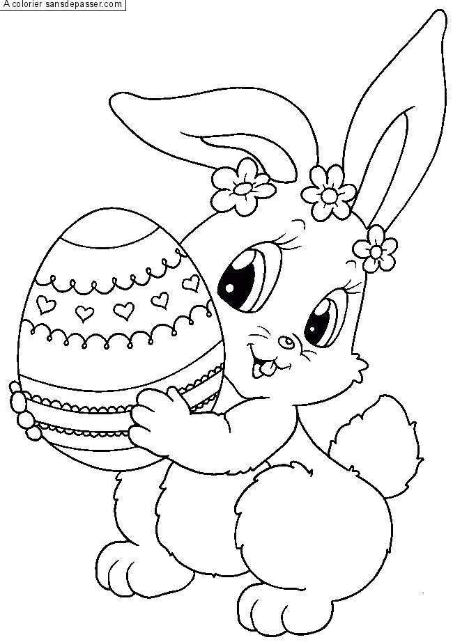 Coloriage petit lapin sautillant sans d passer - Coloriage petit lapin ...