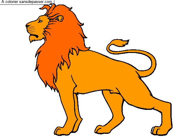 Dessin Colorie Lion Majestueux Par Un Invite Sans Depasser