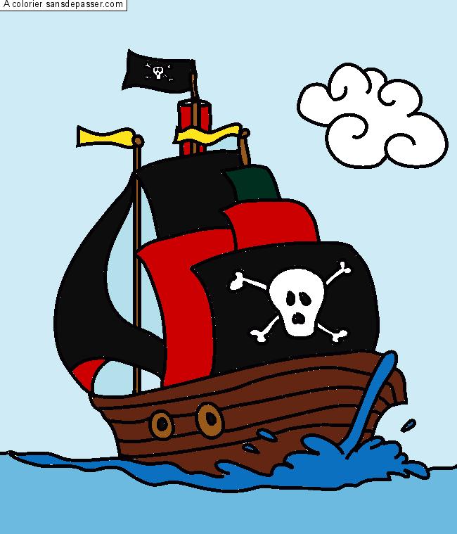 Dessin colori bateau pirate par un invit sans d passer - Coloriage bateau de pirate ...