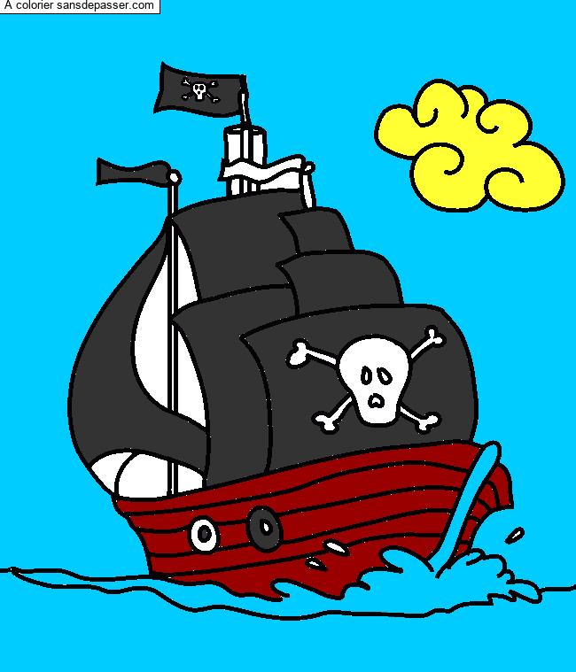 Dessin Colorie Bateau Pirate Par Un Invite Sans Depasser