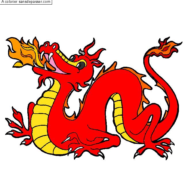 Dessin colori dragon chinois par un invit sans d passer - Coloriage de dragon chinois ...