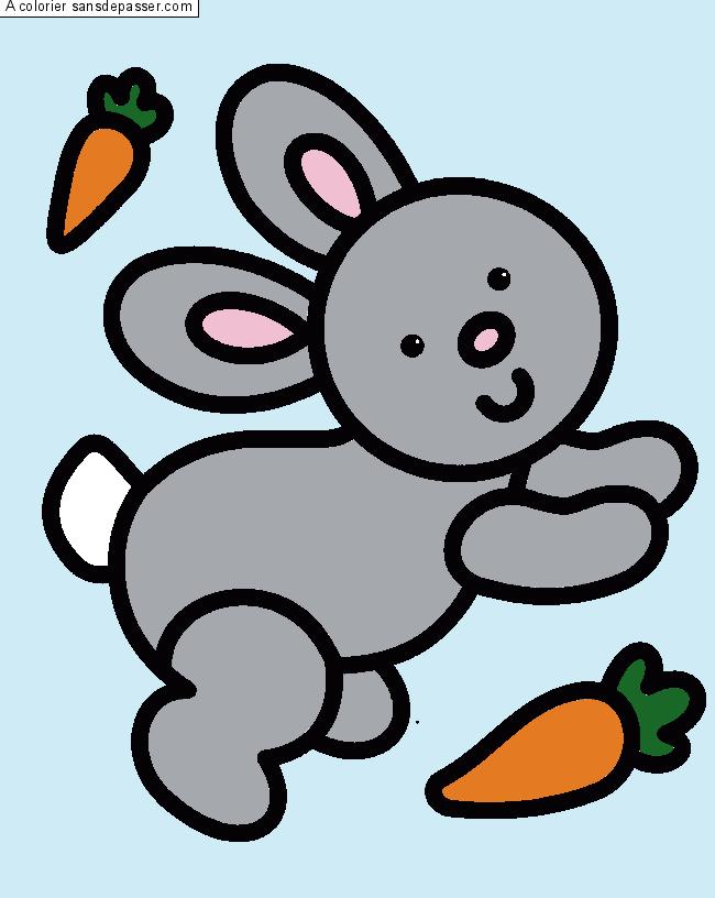Coloriage lapin et carotte sans d passer - Carotte coloriage ...