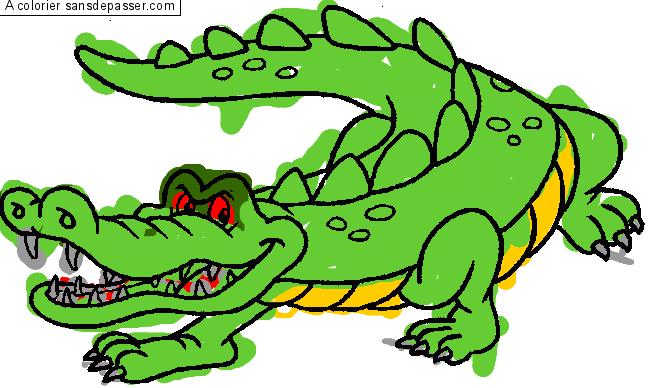 Coloriage crocodile sans d passer - Crocodile coloriage ...