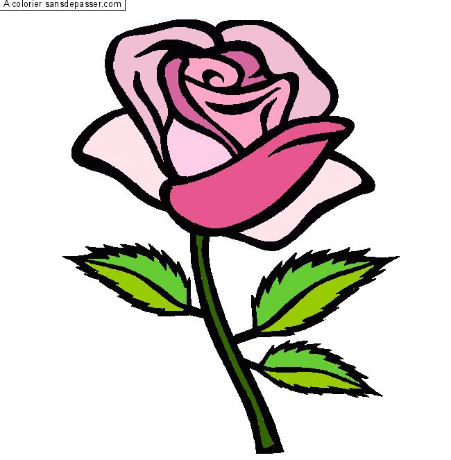 Dessin Colorié Rose Rouge Par Roselucie Sans Dépasser