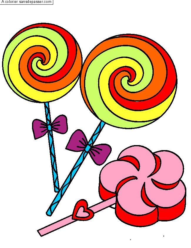 Coloriage bonbons et sucettes sans d passer - Bonbons dessin ...
