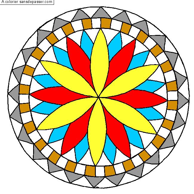 Coloriage rosace sans d passer for Dessin en forme geometrique