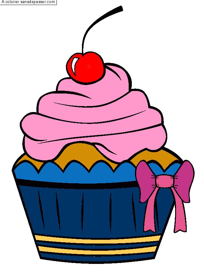 Coloriage cupcake la cerise sans d passer - Dessin cupcake ...