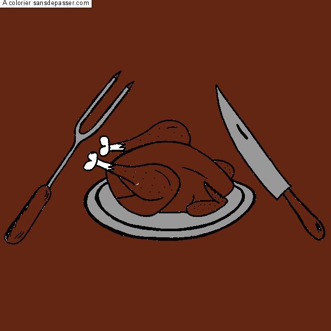 Dessin colori poulet r ti par un invit sans d passer - Dessin de poulet roti ...
