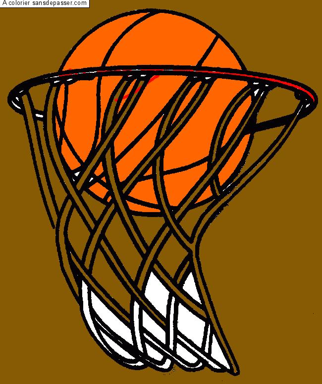 Coloriage panier de basketball sans d passer - Dessin basketball ...