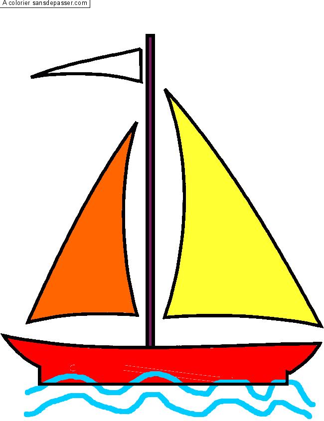 Coloriage voilier sans d passer - Dessin petit bateau ...
