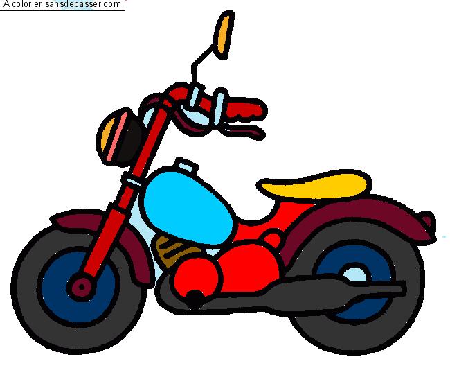 Dessin colori moto par un invit sans d passer - Moto a colorier en ligne ...