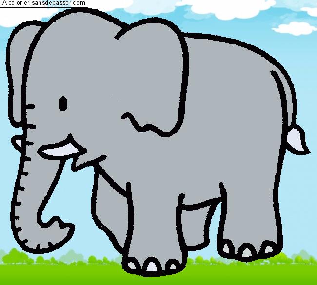 Coloriage Éléphant  Sans Dépasser