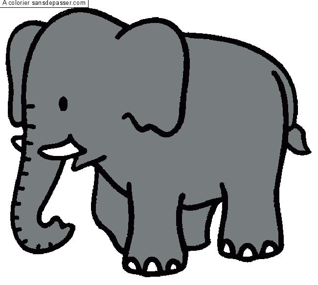 Coloriage l phant sans d passer - Dessins d elephants ...