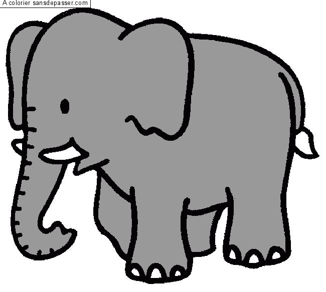 Dessin colori l phant par un invit sans d passer - Elephant image dessin ...