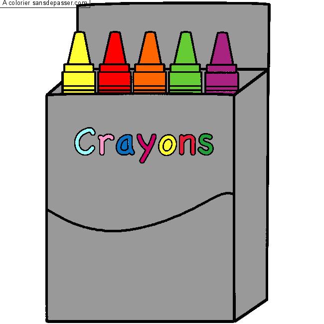 coloriage boite de crayons de cire sans d passer. Black Bedroom Furniture Sets. Home Design Ideas