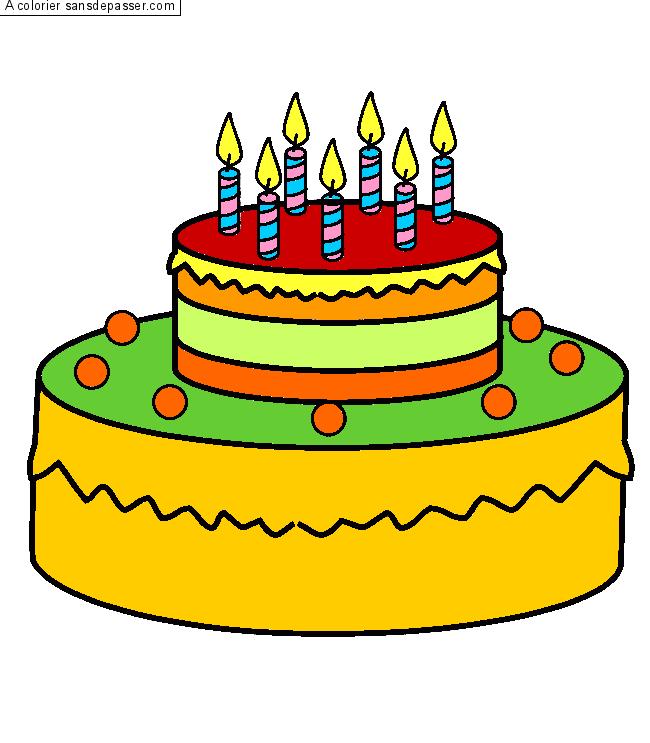 Coloriage g teau d 39 anniversaire 7 ans sans d passer - Dessin sur gateau anniversaire ...