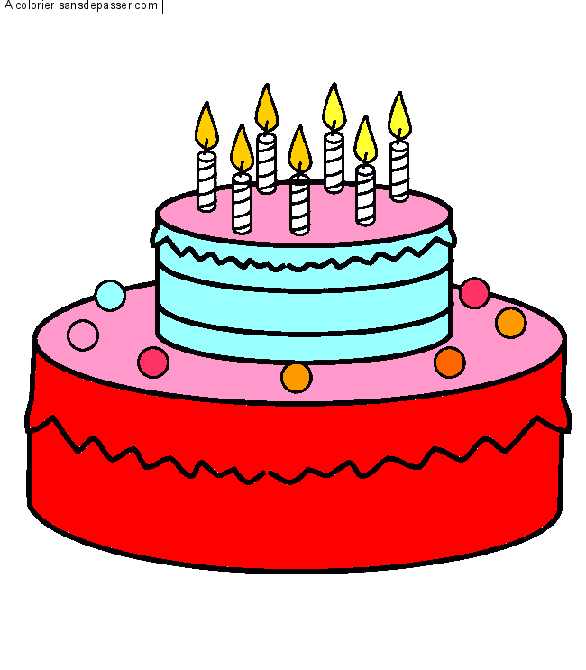 Dessin colori g teau d 39 anniversaire 7 ans par oc ane - Gateau d anniversaire a colorier ...