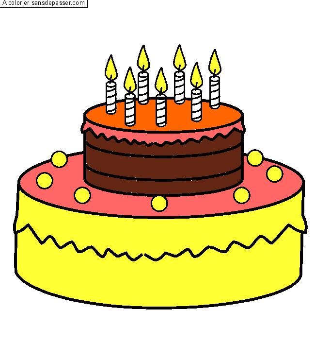 dessin colorié : gâteau d'anniversaire - 7 ans par trolls - sans