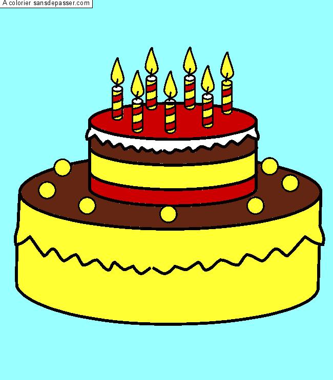 coloriage gateau anniversaire 7 ans meilleures id es coloriage pour les enfants. Black Bedroom Furniture Sets. Home Design Ideas