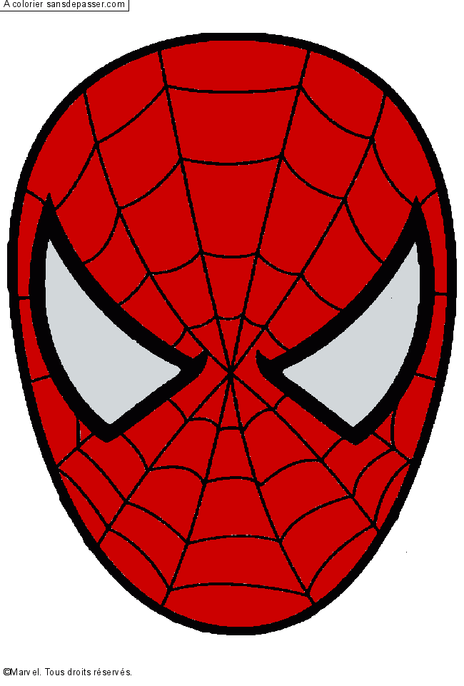 Coloriage spiderman sans d passer - Masque spiderman a imprimer ...
