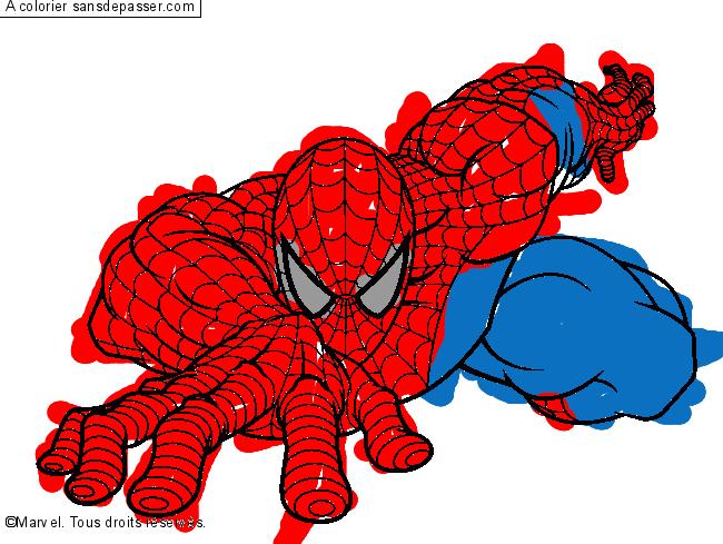 Coloriage spiderman sans d passer - Coloriage de spider man ...