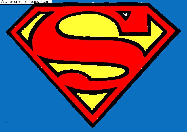 Coloriage Facile Superman.Dessin Colorie Logo Superman Par Un Invite Sans Depasser