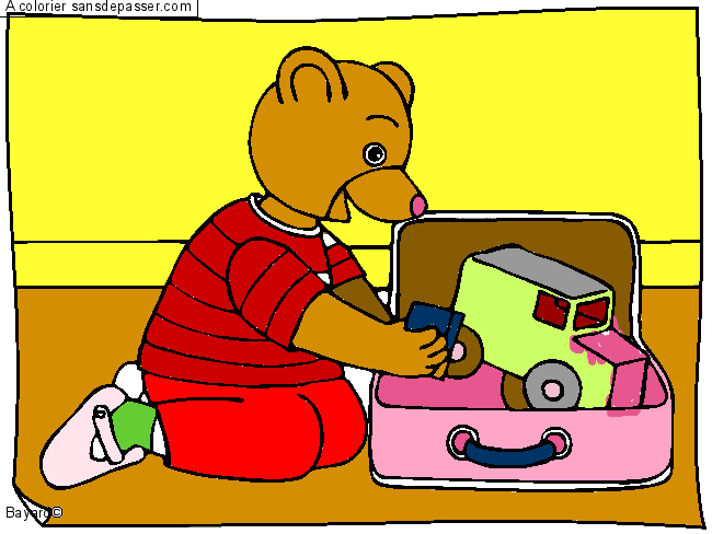 coloriage petit ours brun range ses jouets sans d passer. Black Bedroom Furniture Sets. Home Design Ideas