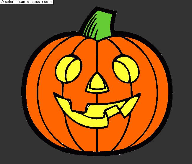 Coloriage citrouille d 39 halloween sans d passer - Image citrouille halloween ...
