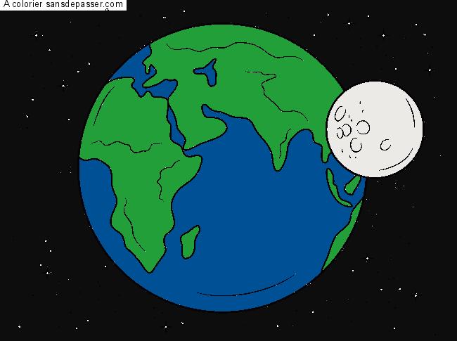 Coloriage De La Terre à La Lune