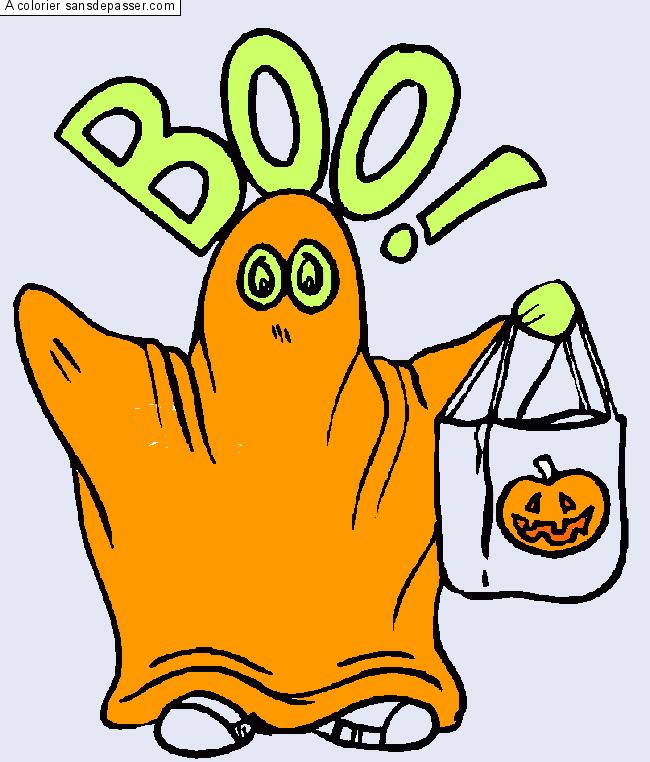 Coloriage fant me d 39 halloween sans d passer - Coloriage halloween fantome ...