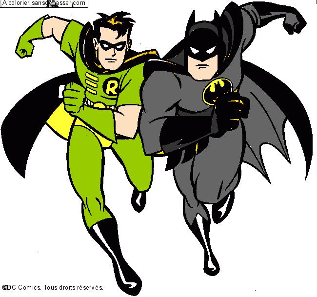 Coloriage Batman Et Robin Sans Depasser