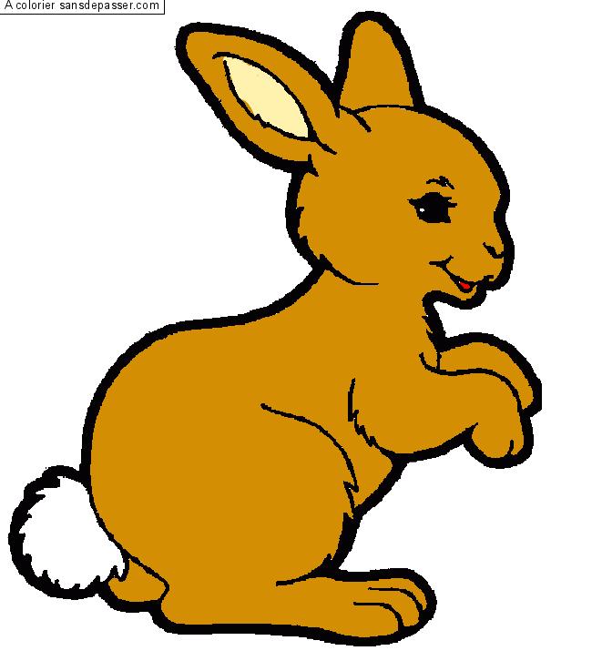 Coloriage petit lapin sautillant sans d passer - Lapin en dessin ...