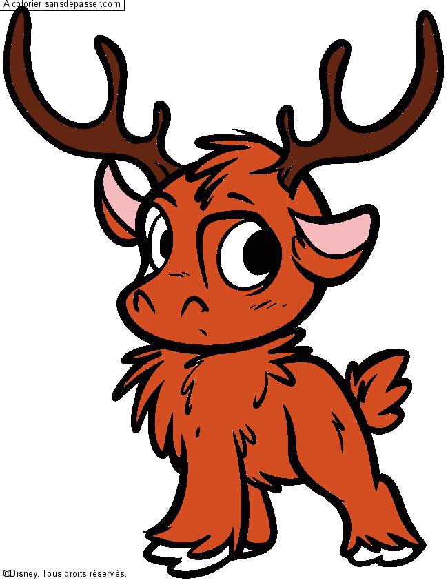 Coloriage Sven, le bébé renne