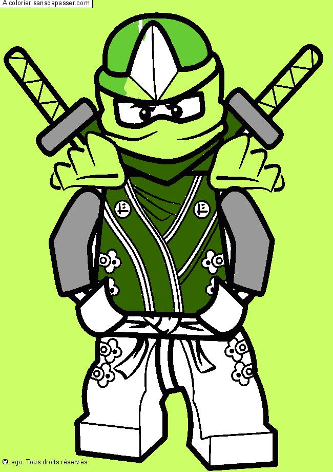 Dessin colori lloyd ninjago vert par un invit sans - Coloriage de ninjago vert ...