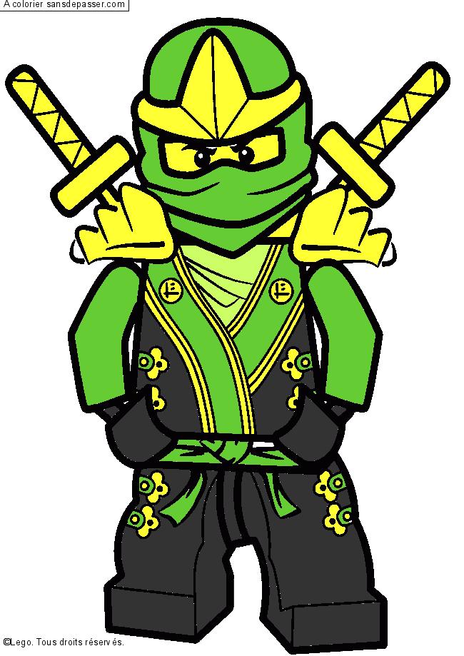 Coloriage lloyd ninjago vert sans d passer - Ninja vert lego ...