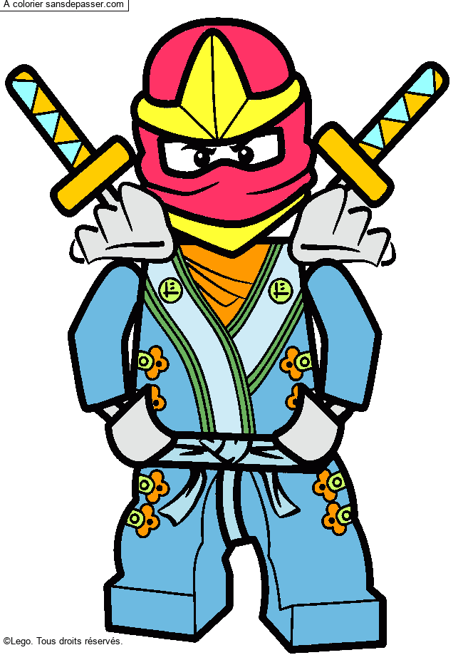 Coloriage Lloyd Ninjago Vert Sans Dépasser