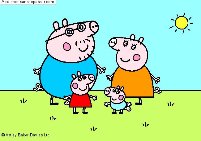 Coloriage Peppa Pig et sa famille - Sans Dépasser