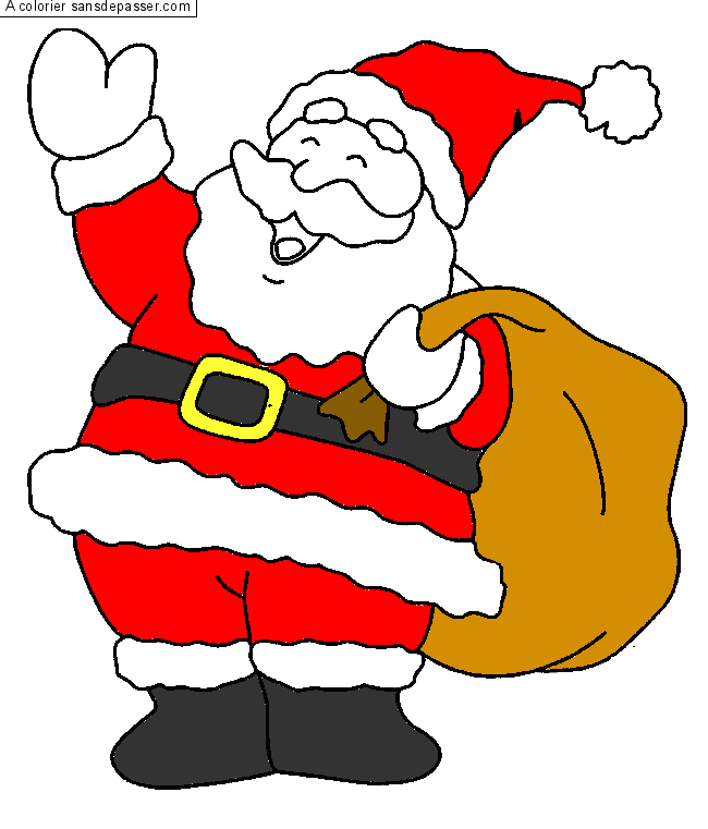 Coloriage p re no l et sa hotte sans d passer - Pere noel facile a dessiner ...
