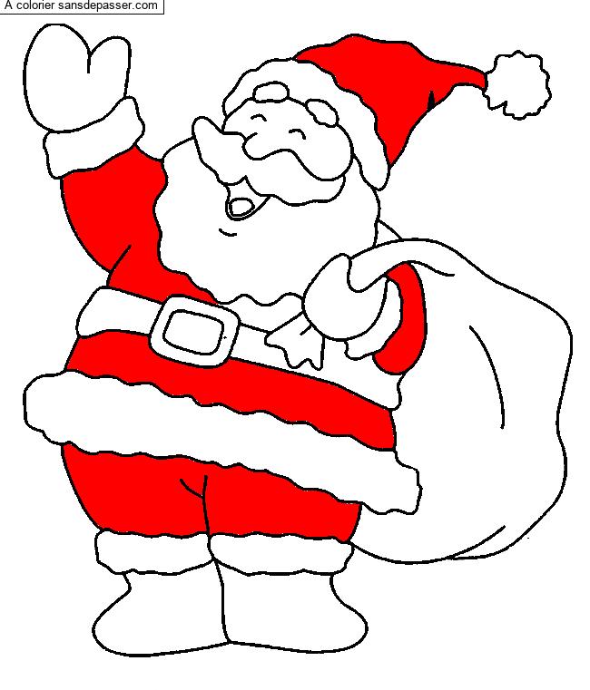 Coloriage Père Noël Et Sa Hotte Sans Dépasser